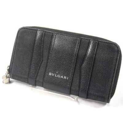 BVLGARI / ブルガリ ■ビーゼロワン ラウンドファスナー長財布 キャンバスレザー ブラック ブランド【財布】 【中古】