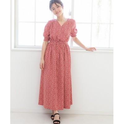 【プレフェリール】 花柄カシュクールワンピース レディース ピンク 40 PREFERIR