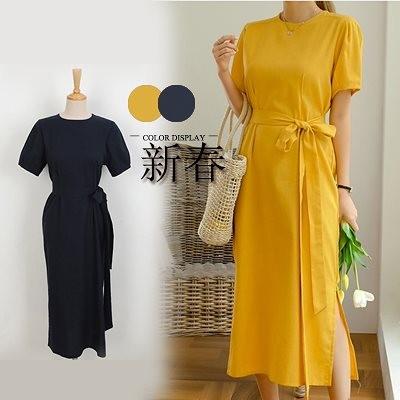 2020春夏人気新品 韓国ファッション 春夏の 大きいサイズ 半袖 ロングワンピ コットンリネン ワンピース