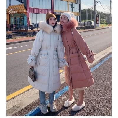 ダウンコートレディース ダウンジャケット ロングコート冬服 防寒着 厚手 フード付き カジュアル ファーコート 女性用 厚手 きれいめ OL おしゃれ 通勤