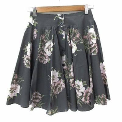 【中古】ココディール Luxe スカート ボタンダウン フレア ひざ丈 花柄 2 グレー ピンク 緑 グリーン /NS9 レディース
