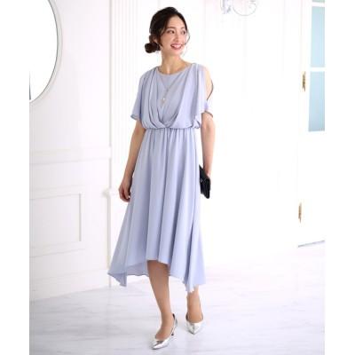 ドレス ネックレス付きパール釦ドレス