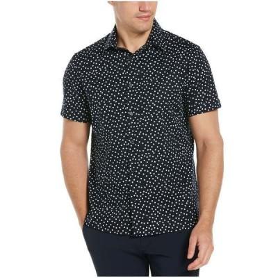 ペリーエリス シャツ トップス メンズ Men's Stretch Micro Blocks Print Short Sleeve Button-Down Shirt Dark Sapphire