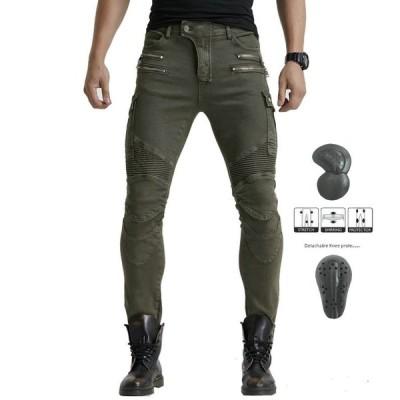 高品質 パンツ あり 弾力 メンズ レーシング ツーリング オールシーズン 膝用プロテクター装備付きグリーン M8-818