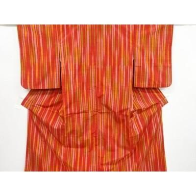 宗sou 縞織り出し手織り紬着物【リサイクル】【着】