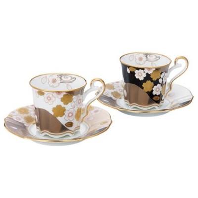 【Noritake(ノリタケ)】(あやみなも) コーヒー碗皿ペアセット(桜金銀彩・夜桜金銀彩)