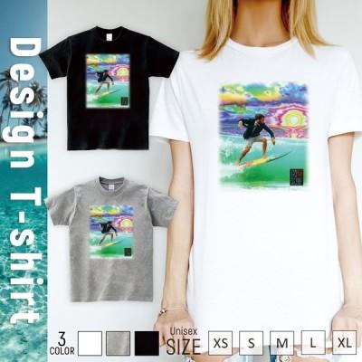 Tシャツ レディース 半袖 トップス ブランド ユニセックス メンズ プリントTシャツ GO SURF サイケデリックサン サーフ サーフィン Hawaii ハワイ