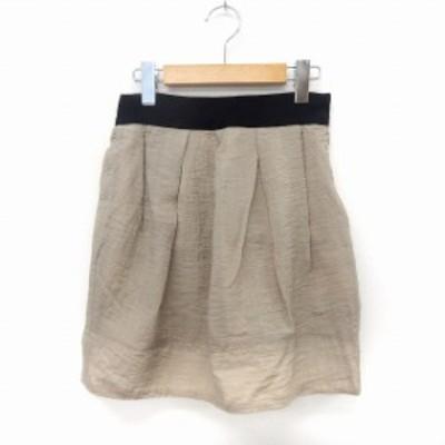 【中古】マカフィー MACPHEE トゥモローランド スカート フレア 膝丈 サイドジップ シンプル 34 グレージュ /ST13