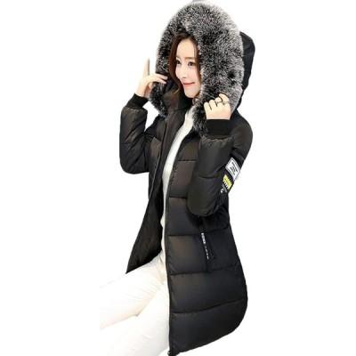 AIJUAN レディース ダウンジャケット 厚手 冬服 ロング丈 大きいファー カジュアル 綿入れ 通勤 着痩せ フード付き 冬服コート 可愛い 中綿