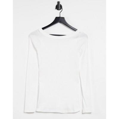 リバーアイランド レディース Tシャツ トップス River Island long sleeved boat neck t-shirt in white White