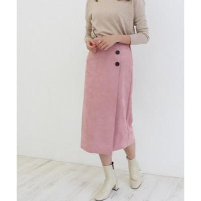 スカート スウェードボタンスカート スウェードスカート