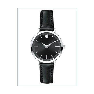 Movado Ultra Slim Black Dial Leather Strap Ladies Watch 0607094並行輸入品