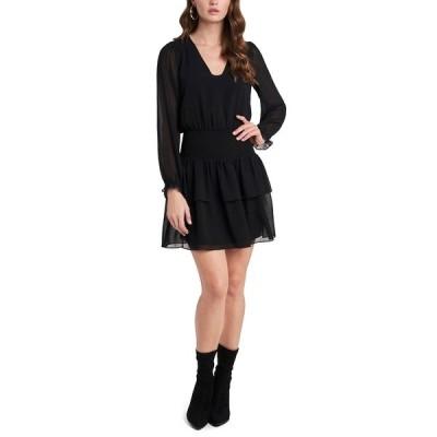 ワンステイト ワンピース トップス レディース Snake-Print Peasant Mini Dress Rich Black