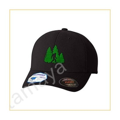 Flexfit Hats for Men & Women Woods Bigfoot A Embroidery Polyester Dad Hat Baseball Cap Black Design Only Large XLarge