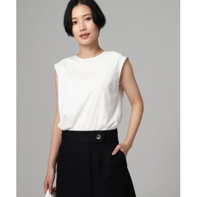 【アンタイトル】 サテン使いスムースノースリーブTシャツ レディース ホワイト 01(S) UNTITLED