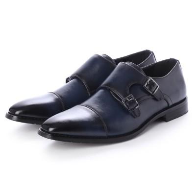 ジーノ Zeeno ビジネスシューズ メンズ 革靴 ロングノーズ 防滑 ストレートチップ ダブルモンクストラップ (Navy)