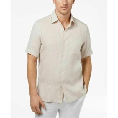 ファッション アウター Tasso Elba Mens Beige Size Medium M 16-16 1/2 Linen Button Up Shirt
