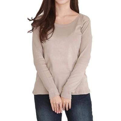 スリーピングシープ やわらか コットン 快適 長袖 Tシャツ 綿 フライス 丸首 クルーネック シンプル(i.ベージュグレー, LL)