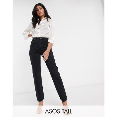 エイソス ASOS Tall レディース ジーンズ・デニム ボトムス・パンツ ASOS DESIGN Tall High rise 'effortless' stretch kick flare jeans in black ブラック