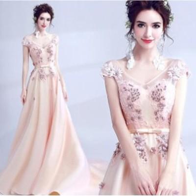 ウェディングドレス パーティドレス 着痩せ 花柄 二次会 結婚式 司会者 披露宴 花嫁 vネック