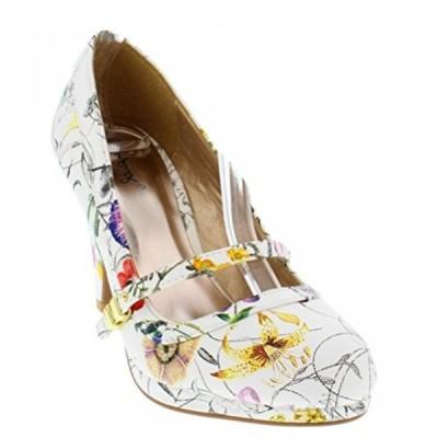 キューピッド レディース パンプス Qupid White Floral Mary Jane Pumps Kitten Heels Women's shoes Teaser-08