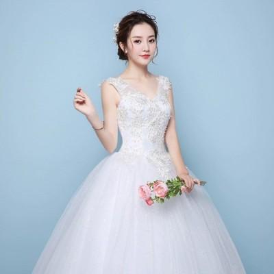 激安 ウェディングドレス ノースリーブ Vネック ホワイト 結婚式ドレス ブライダル Aライン ロングドレス 披露宴 二次会 プリンセスドレス 編み上げ