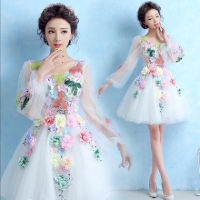 ウェディングドレス ミニ 二次会ドレス 花嫁 ショートドレス ドレスベアトップ 花柄 パーティードレス 花嫁 ショートドレス 撮影