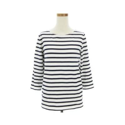 【中古】ドゥーズィエムクラス DEUXIEME CLASSE バスク シャツ Tシャツ カットソー 七分袖 ボーダー 白 ホワイト 紺 ネイビー レディース 【ベクトル 古着】