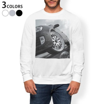 トレーナー メンズ 長袖 ホワイト グレー ブラック XS S M L XL 2XL sweatshirt trainer 裏起毛 スウェット 車 風景 写真 016152