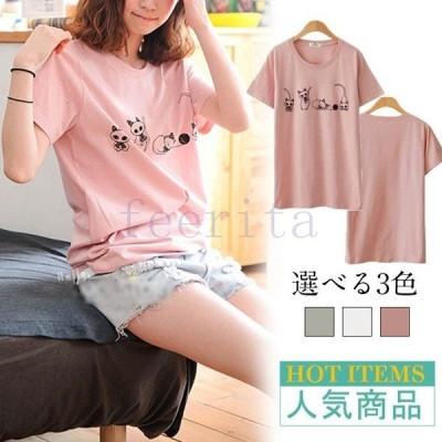 Uネック ネコ柄 Tシャツ 半袖 可愛いプリント クールネック 半袖Tシャツ チュニック フェミニン 女性 レディース