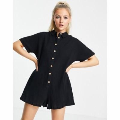 エイソス ASOS DESIGN レディース オールインワン ワンピース・ドレス button through shirt romper in black ブラック