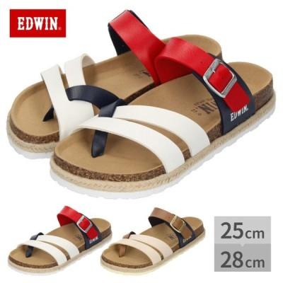 EDWIN エドウィン サンダル メンズ フットベッド トリコロール ネイビー  EW9061 合皮 鼻緒タイプ コンビカラー レッド ホワイト ブラウン セール