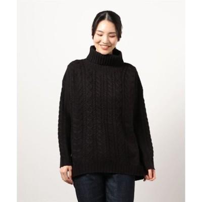 ニット 【C-FORT POINT】アランガラタートルネック 【洗えるセーター】 裾に前後差