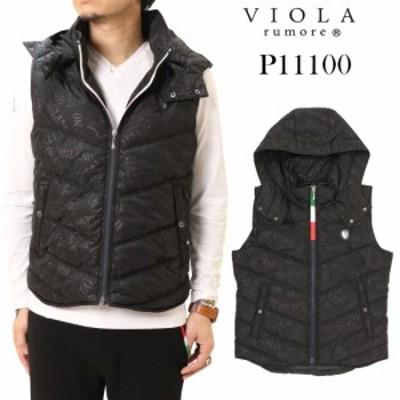VIOLA ヴィオラ 中綿 ベスト フード取り外し可能 P11100 ジップ 大人 メンズ トップス キレイめ タイト ブラック