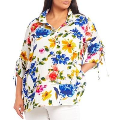 ジョン マーク レディース カットソー トップス Plus Size Floral Print Button Front Cinched Sleeve Tunic