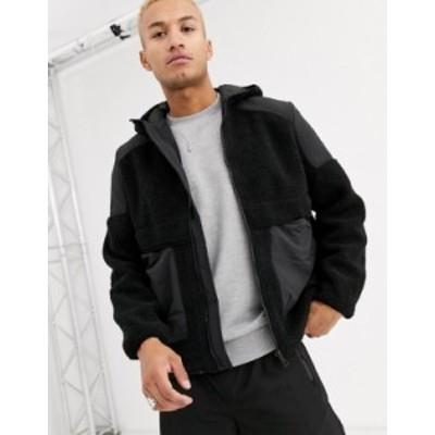 エイソス メンズ ジャケット・ブルゾン アウター ASOS DESIGN zip through borg jacket with hood Black