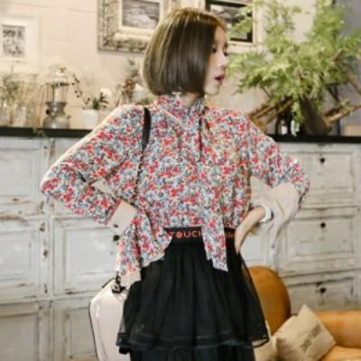 袖 の フリル が カワイイ 花柄 襟 リボン ブラウスシャツ オシャレ かわいい デート 春 夏 人気 コーデ
