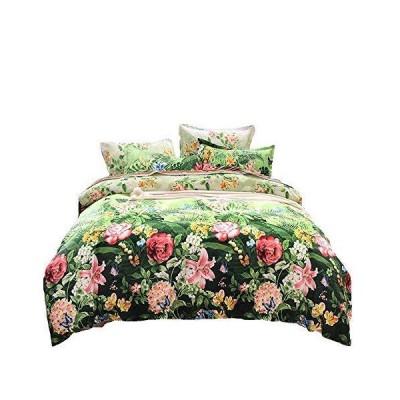 [COSMIC TREE] 花柄に包まれて眠る 花 柄 ボタニカル フラワー トロピカル デザイン 寝具 ダブル 4点セット 布団カバー 枕カバー フ