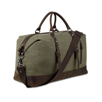 Canvas Overnight Bag Travel Duffel Genuine Leather for Men and Women Weekender Tote (Army Green)【並行輸入品】