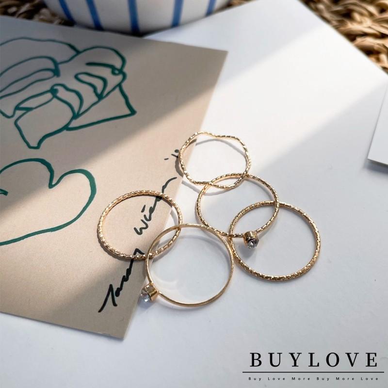【買到戀愛】現貨 5入一組 唯美線條鍊條感戒指【I021】