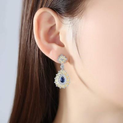 Statement Earrings for Women Sterling Silver Cubic Zirconia Dangle Tea