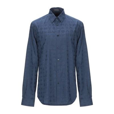 VERSACE シャツ ダークブルー 37 コットン 66% / シルク 34% シャツ