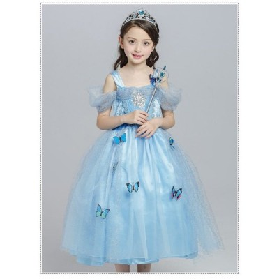 子供 シンデレラ ドレス キッズ プリンセスドレス   コスチューム 衣装 コスプレ プリンセス ハロウィン 仮装 ワンピース こども コスプレ衣装 なりきり コス 子