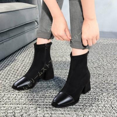 レディース ブーティ ショートブーツ スエード調 チャンキーヒール 5cmヒール サイドジップ ミドルヒール アンクル ブーツ 痛くない 歩きやすい 小さいサイズ