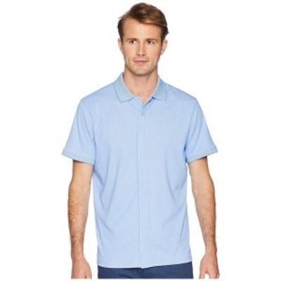 マグナレディ メンズ シャツ トップス Classic Fit Ribbed Collar Knit Polo Light Blue