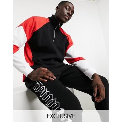 トップマン Topman メンズ スウェット・トレーナー ハーフジップ トップス exclusive @ ASOS stripe mesh panel quarter zip sweat in black ブラック