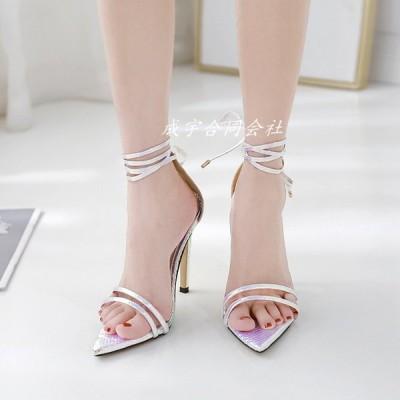 ウェッジソール ハイヒール サンダル レディース とんがり靴 オープントゥサンダル ピンヒール レースアップシューズ 美脚 歩きやすい カジュアル 女性 セクシー
