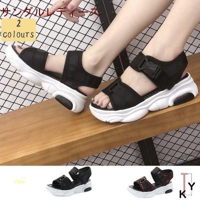サンダルレディース 送料無料 スポーツサンダル 履きやすい 30代 20代 10代 美脚 厚底サンダル 歩きやすい 夏サンダル