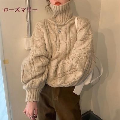 ローズマリー 韓国ファッション2020 11月 新品販売 ハイネックのセーター ニットセーター メリヤス 可愛い ベーシック 大人気 2011249