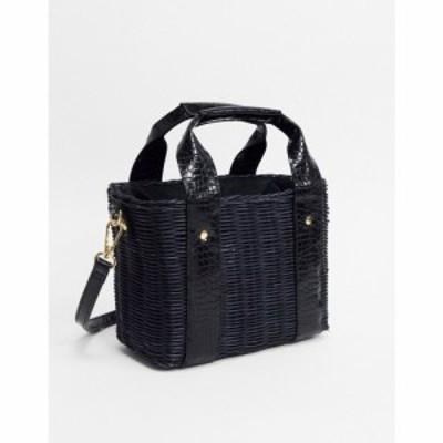 エイソス ASOS DESIGN レディース バッグ バケットバッグ natural rattan bucket bag in black ブラック